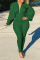 Army Green Casual Solid Split Joint V Neck Skinny Jumpsuits
