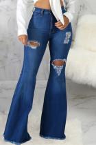 Dark Blue Fashion Casual Solid Ripped High Waist Boot Cut Jeans