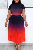 Red Fashion Casual Gradual Change Print O Neck Pleated Skirt Plus Size Two Pieces