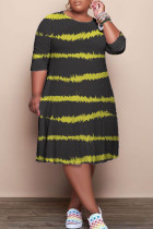 Black Casual Striped Print Split Joint O Neck A Line Plus Size Dresses