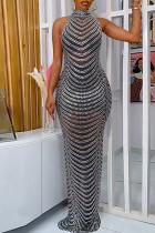 Black Sexy Patchwork Hot Drilling See-through Backless Half A Turtleneck Evening Dress