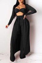 Black Sexy Solid Split Joint Strapless Long Sleeve Three Pieces