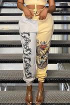 Yellow Fashion Street Print Split Joint High Waist Harlan Bottoms
