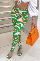 Green Fashion Street Print Mid Waist Pencil Bottoms
