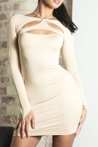 Apricot Sexy Solid Split Joint O Neck Pencil Skirt Dresses