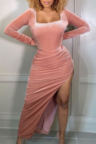 Pink Sexy Casual Solid Slit Square Collar Long Sleeve Dresses