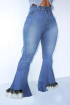 Dark Blue Fashion Street Solid Split Joint High Waist Denim Jeans