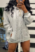 Grey Fashion Casual Solid Basic Hooded Collar Tops