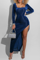 Deep Blue Sexy Casual Solid Slit Square Collar Long Sleeve Dresses