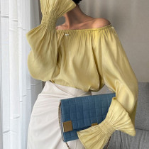 Yellow Casual Solid Split Joint Off the Shoulder Tops