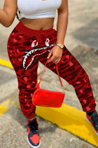 Red Fashion Casual Camouflage Print Split Joint Harlan Bottoms