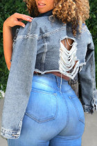 Baby Blue Fashion Street Solid Ripped Turndown Collar Long Sleeve Denim Jacket