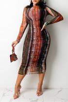 Brown Sexy Print Split Joint O Neck Pencil Skirt Dresses