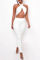 White Sexy Casual Solid Hollowed Out Backless Halter Skinny Jumpsuits