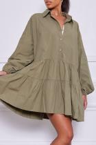 Green Casual Solid Flounce Turndown Collar Cake Skirt Dresses