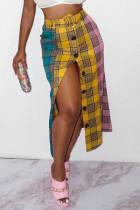 Multicolor Fashion Street Plaid Split Joint Type A Bottoms