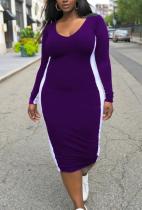 Purple Casual Solid Split Joint U Neck Pencil Skirt Plus Size Dresses