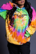 Multi-color Casual Print Tie Dye Split Joint Hooded Collar Tops