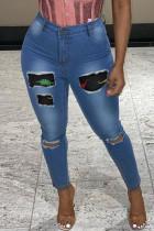 Blue Fashion Street Print Ripped Denim Jeans