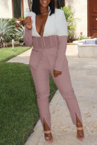 Light Pink Casual Work Solid Split Joint Slit Turn-back Collar Long Sleeve Two Pieces