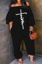 Black Casual Print Split Joint Off the Shoulder Loose Jumpsuits