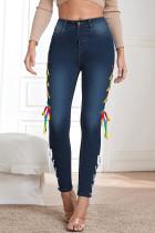 Blue Black Fashion Street Solid Bandage Denim Jeans