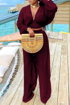 Burgundy Sexy Solid Split Joint Fold V Neck Long Sleeve Two Pieces