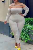 Cream White Fashion Casual Solid Split Joint Off the Shoulder Plus Size Jumpsuits