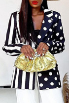 Black And White Fashion Casual Print Split Joint Turndown Collar Outerwear