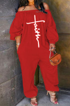 Red Casual Print Split Joint Off the Shoulder Loose Jumpsuits