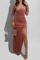 Brown Sexy Casual Solid Slit Square Collar Long Sleeve Dresses