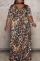 Leopard Print Fashion Casual Plus Size Print Basic V Neck Long Dress