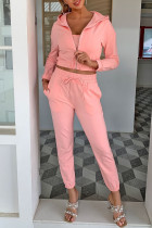Pink Fashion Casual Solid Split Joint Hooded Collar Nine Points Sleeve Three Pieces