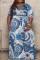Blue Fashion Casual Plus Size Print Basic V Neck Long Dress