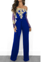 Colorful Blue Sexy Solid Lace Off the Shoulder Boot Cut Jumpsuits