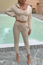 Khaki Fashion Casual Solid Split Joint Hooded Collar Nine Points Sleeve Three Pieces