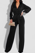 Black Fashion Casual Solid Frenulum V Neck Regular Jumpsuits