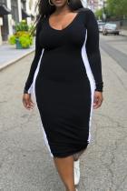 Black Casual Solid Split Joint U Neck Pencil Skirt Plus Size Dresses