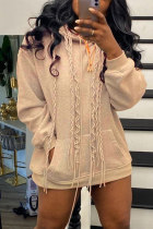 Light Brown Fashion Casual Solid Basic Hooded Collar Tops