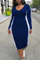 Blue Casual Solid Split Joint U Neck Pencil Skirt Plus Size Dresses