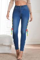 Dark Blue Fashion Street Solid Bandage Denim Jeans