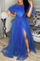 Blue Sweet Elegant Solid Split Joint Off the Shoulder Strapless Dress Plus Size Dresses