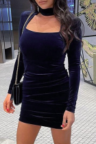 Deep Blue Sexy Solid Split Joint Halter Pencil Skirt Dresses