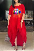 Red Casual Print Split Joint O Neck Irregular Dress Dresses