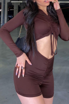 Brown Sexy Solid Split Joint V Neck Skinny Jumpsuits