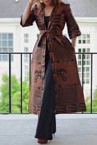 Brown Fashion Casual Print With Belt V Neck Outerwear