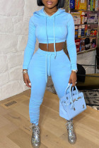 Light Blue Fashion Casual Solid Basic Hooded Collar Long Sleeve Two Pieces