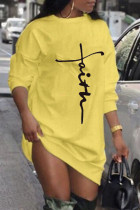 Yellow Casual Print Split Joint O Neck Long Sleeve Dresses