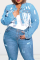 Baby Blue Casual Solid Tassel Turndown Collar Plus Size Overcoat