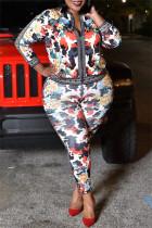 Black Fashion Casual Print Split Joint Zipper Collar Plus Size Two Pieces
